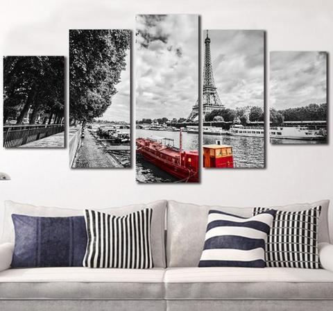 5PCS Framed Eiffel Tower White/Black with Boat Canvas Wall Art for Office and Home Wall Decor