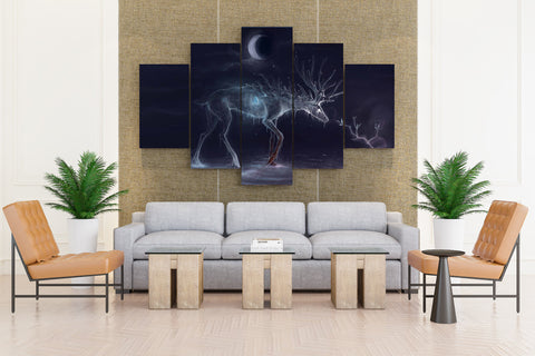 Fantasy Magic Gothic Deer Animals - 5 piece Canvas