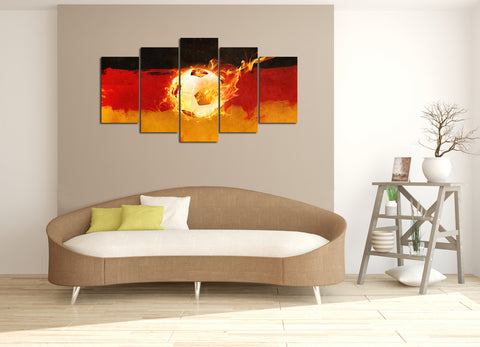 5 piece Canvas Artwork of Soccer World Cup Fire Ball Representation - EpicKanvas