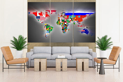 Flags World Map - 5 piece Canvas