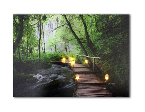 One Piece Framed Modern LED Forest Path Tranquility Light Canvas For Home/Office Decor