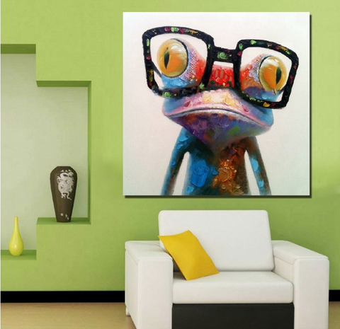 1 Piece Framed Abstract Frog Canvas Art - 1 Piece Canvas Stylish Frog With an Eye Glass Artwork for Office and Home Wall Decor
