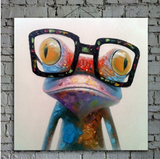 1 Piece Framed Abstract Frog Canvas Art - 1 Piece Canvas Stylish Frog With an Eye Glass Artwork for Office and Home Wall Decor - EpicKanvas