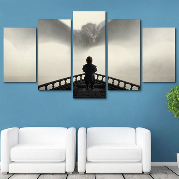 Framed 5 PCS Game of Thrones Giant Bird Canvas - 5 piece Artwork For Game of Thrones Winter Is Coming Fan for Office/Home/Living Room