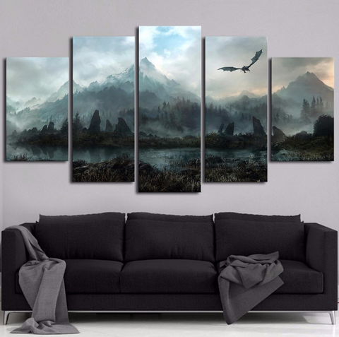 Framed 5 PCS Game of Thrones Bird Canvas - Game of Thrones Winter Is Coming for Office/Home Room - EpicKanvas