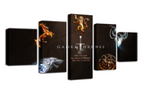 5 PCS Game of Thrones Sword Canvas - 5 piece Artwork For Game of Thrones Fan for Office/Home/Living Room