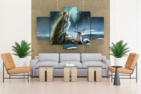 Girl Princess Long Hair Face Profile Lights Mania Animal Deer - 5 piece Canvas