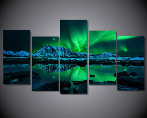 5Pcs Framed Aurora Boreal Canvas - 5 Piece Magnificent Green Aurora Art for Home/Office Wall