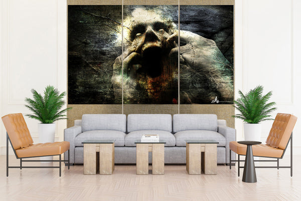 Horror Dark Gothic Scream - 3 piece Canvas