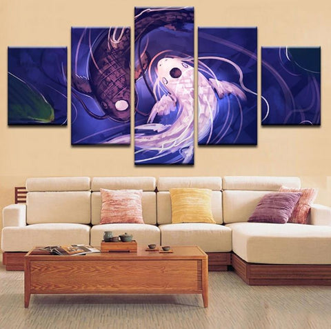 5 Pcs Yin Yang Fish Eye Abstract Canvas - 5 piece Feminine Masculine Polarity Canvas For Your Home/Office Room