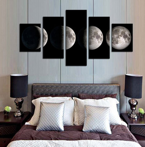 5 Piece-All Phases Of Moon - Half Moon To Full Moon Canvas Art For Home & Office Decor - EpicKanvas