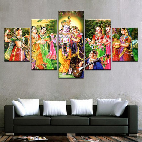 5PCS Framed KRISHNA & RADHA Epic Love & Infatuated Lovers Of Krishna Canvas For Home/Office Room - EpicKanvas