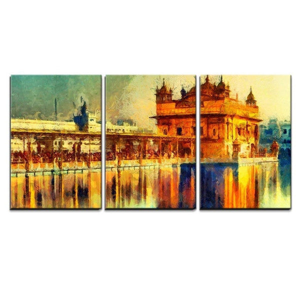 3 Pc Framed Peace & Poise Golden Temple Sikh Heritage Canvas Art for your Home And Office Beauty - EpicKanvas
