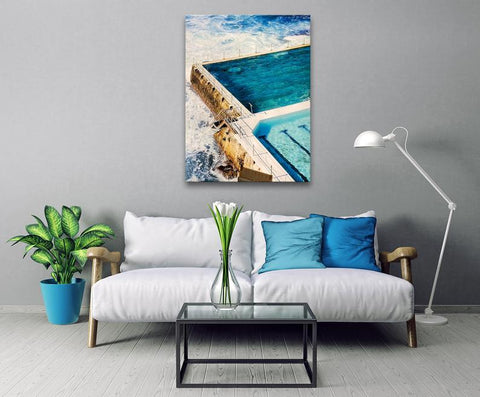1 Pc Framed Australia Travel Nature's Bondi Beach's Iconic Massive Open Pool Canvas Art for your Home/Office Space