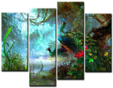 4PCS Framed Peacock Nature's Colorful beautiful Two Bird Friend Canvas Artwork For Home and Office Decor