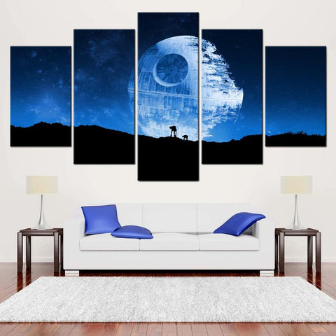 5 Pieces Death Star art, 5 panel canvas, Death Star Canvas, Movie Home Décor, AT-AT poster Room Wall Decor For Your Home & Office