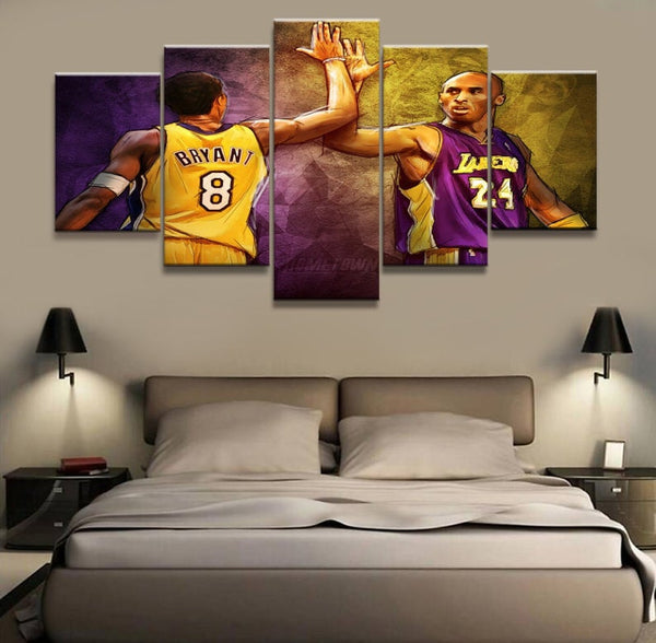 5 Piece Mamba Kobe The Bryant #8 vs #24 Basketball Champion Canvas Artwork for your Home & Office Wall Art - EpicKanvas