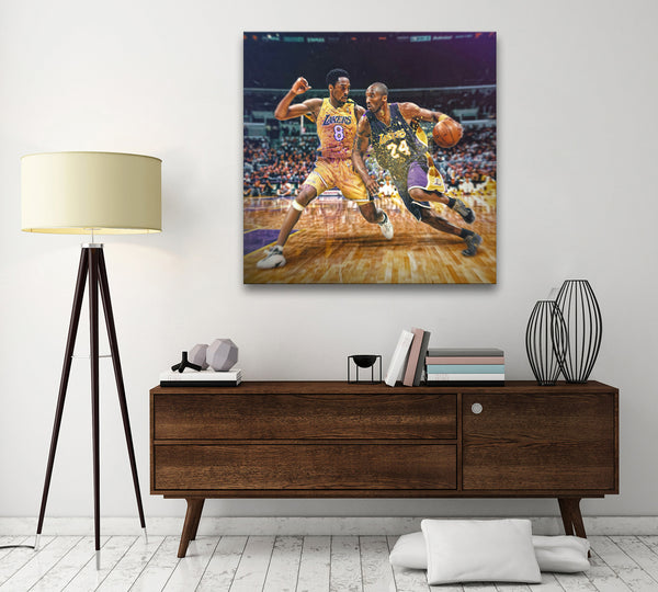 Epikkanvas Empowered Living- 1 Pc Framed Kobe Bryant Two Team One Soul #8 & #24 Black Mamba Graffiti Art Proud Canvas Art - EpicKanvas