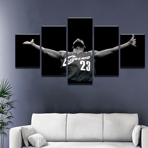 5 Piece Basketball Iconic Lebron James NBA Cavalier Canvas Artwork - EpicKanvas