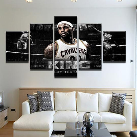 5 Piece Lebron James Cavaliers Canvas Art