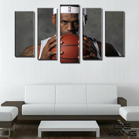 5 Piece Lebron James Cavaliers NBA Canvas Art - EpicKanvas
