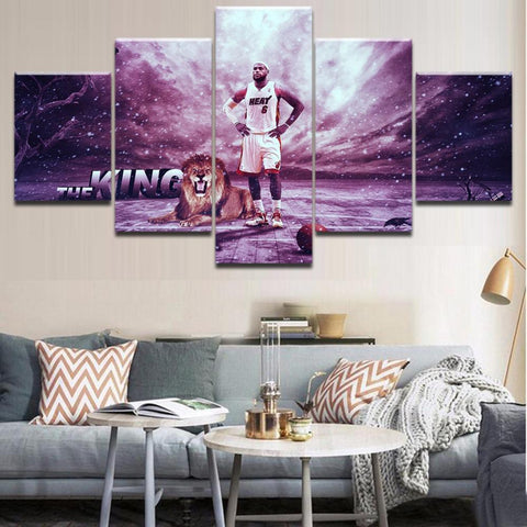5 Piece NBA Basketball King Lebron James Lion Canvas Artwork - EpicKanvas