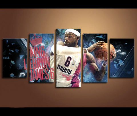 5 Piece Basketball Iconic Lebron James NBA Miami Heat Canvas Art - EpicKanvas