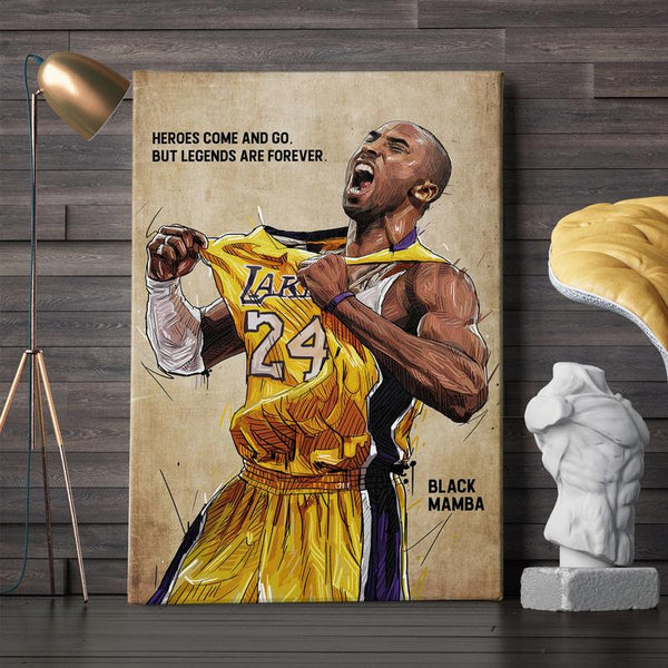 1 Pc Framed Kobe Bryant Lakers - Legends With Yellow Background Canvas Wall Art Home Decor - EpicKanvas