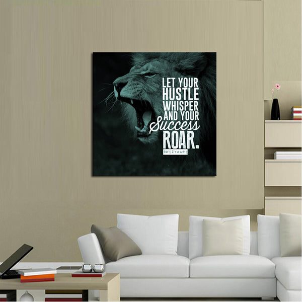 1 Piece Framed Abstract Lion Hustle Canvas Prints - 1 Piece Canvas Everyday Motivation Artwork on Wall Art for Office and Home Wall Decor - EpicKanvas