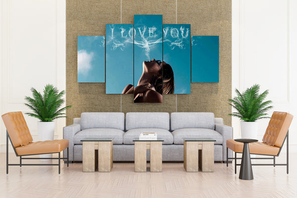 Lovely Sensual I love you Girl Face Smoke - 5 piece Canvas