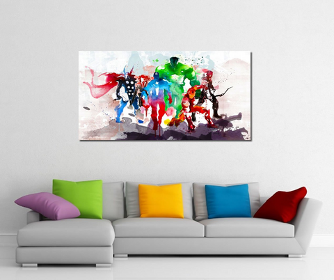 1 Piece Framed Abstract Watercolor Marvel Avengers Super Hero Artwork on Wall Art for Office and Home Wall Decor