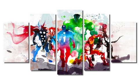 5 Piece Framed Abstract Watercolor Marvel Avengers Super Hero Artwork on Wall Art for Office and Home Wall Decor