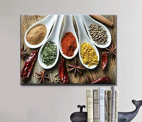 1 Pcs Indian Masala Kitchen Canvas - 1 piece Kitchen Cook Wall Art For Your Home/Office Room