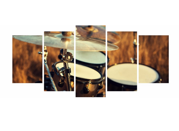 5PCS Drummer Musical Instruments Wall Art Canvas Prints Painting - 5 piece Canvas