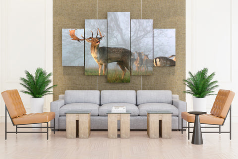 Nature Animals Mist Deer - 5 piece Canvas