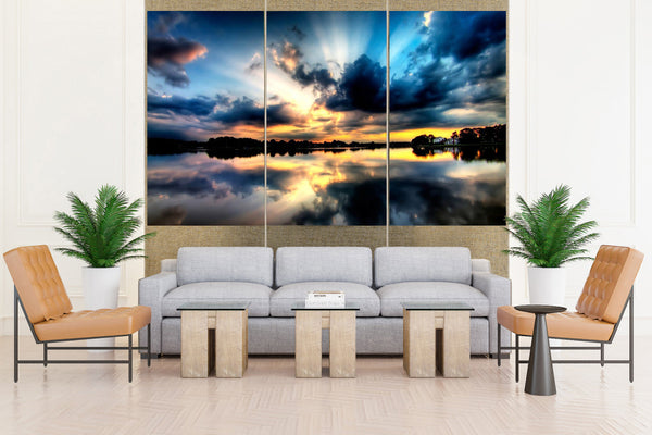 Sunset in a Beautiful lake - 3 piece Canvas