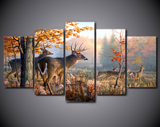 Deer & Forest Oil Prints- 5 piece Canvas