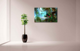 Two Peacock Walking In The Woods Wall Art Painting Print On Canvas The Picture Animal Artwork
