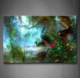Two Peacock Walking In The Woods Wall Art On Canvas For Your Home & Office Decor - EpicKanvas
