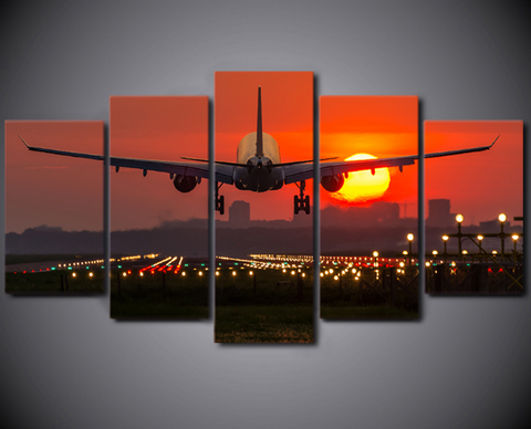 5PCS Framed Airplane Evening Take Off Canvas - Dream Flying To New Country Everyday Artwork For Your Home/Office Room
