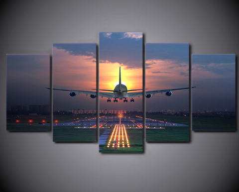 5PCS Framed Airplane Evening Take Off Canvas - Dream Flying To New Country Artwork For Your Home/Office Room