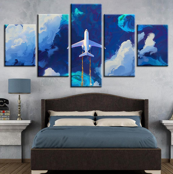 5PCS Framed Airplane on Sky Cannvas - Plane On Blue Sky Artwork For Home/Office Room