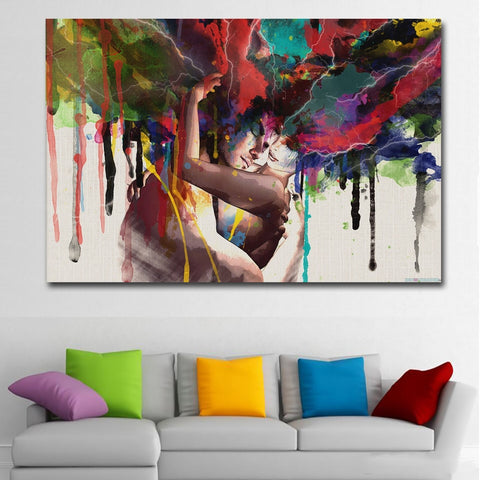 Epikkanvas Framed Lover Intense Hug Abstract Painting For Your Home & Office Beauty