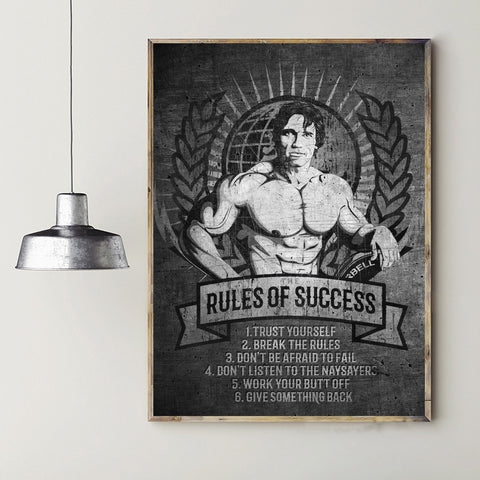 1 Piece Framed Canvas Arnold Schwarzenegger Rules of success Mindset Motivational & Inspirational Artwork For Home & Office Decor