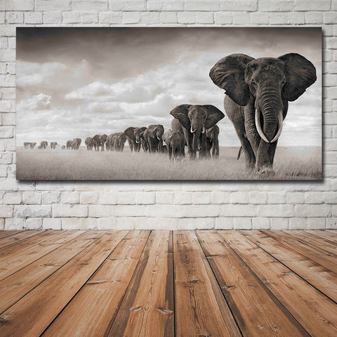 1Pc Elephant Family Forest Canvas Art For Home & Office Decor - EpicKanvas