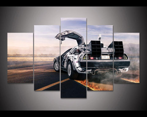 5 Piece Canvas Back To The Future - DeLorean Car Future Looks Bright Artwork For Home & Office Decor - EpicKanvas