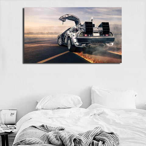 1 Piece Canvas Back To The Future - DeLorean Car Future Looks Bright Artwork For Home & Office Decor