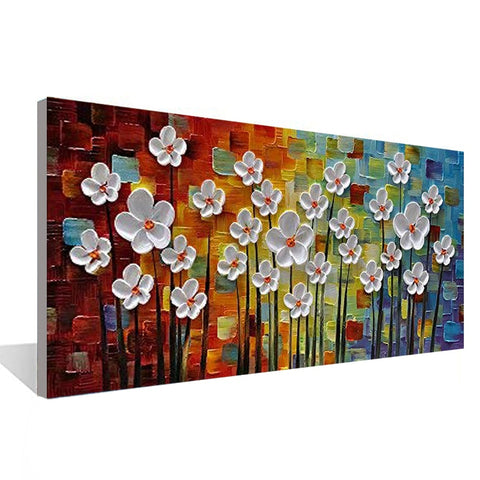 Hand Painted Flowers 3D Canvas Painting For Restaurant, Home, Office Interior Wall Designs - EpicKanvas