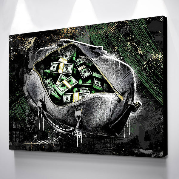 Dollar Cash In The Purse Success Canvas - Live In Cash Mindset Artwork. - EpicKanvas