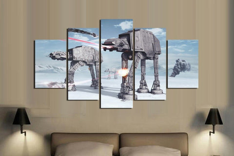 Star Wars AT-AT Invasion - 5 Piece Canvas Painting